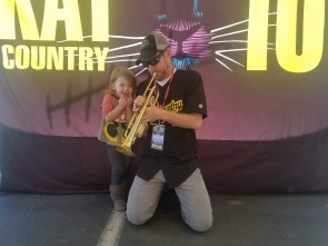 I love playing the country trumpet for the kids